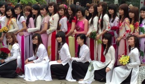 Students prepair for their graduation with a photo call at the Temple of Literature, Hanoi.