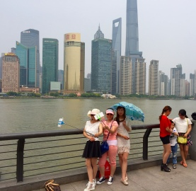 The selfies are out on the Bund, looking over to the Pudong New Area!